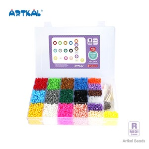 Artkal Creative Diy Toys 19 Colors Grids Hama Beads Box with Accessories