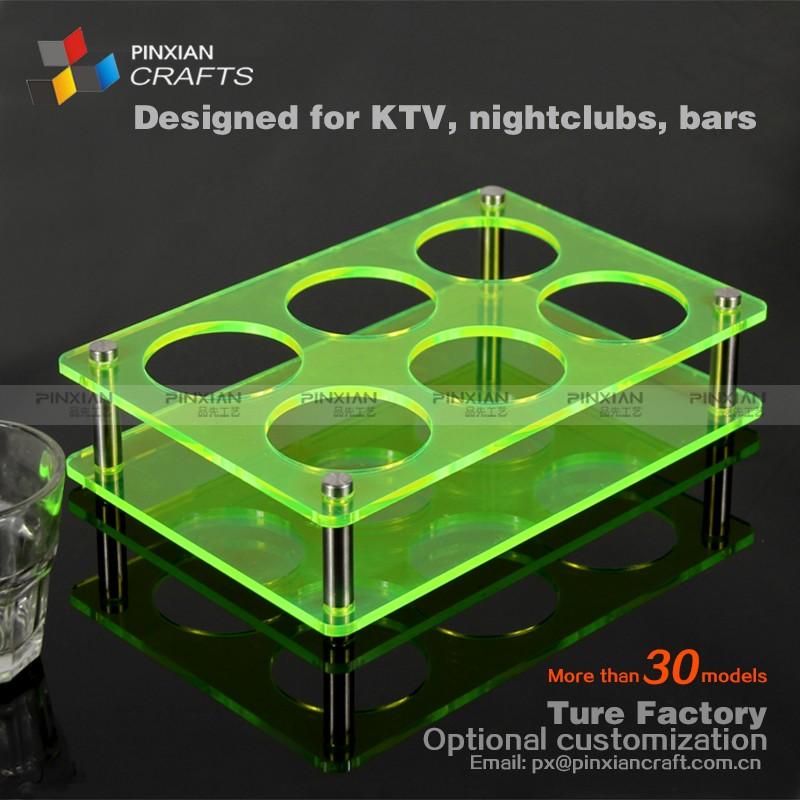 6 agujero redondo panel transparente verde fluorescente placa de ...