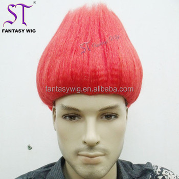 Fire Red Fancy Dress Party Costume Synthetic Troll Hair Wigs For ... fad6c893ecee