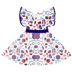 Girls 4th of July Dress Children Frock Design Patriotic Day Clothes 5 Years Girl Dress