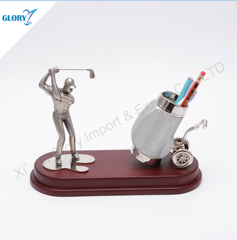 Competitive price metal pen holder golf with wooden desk