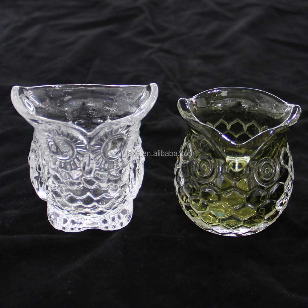 Hawk Eagle Night Owl Crystal Clear Hand Pressed Glass Candleholder