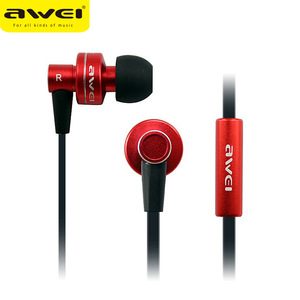 AWEI ES-900I Hot Selling Fancy Funky Funny Radium Metal Earphone With Mic 3.5MM