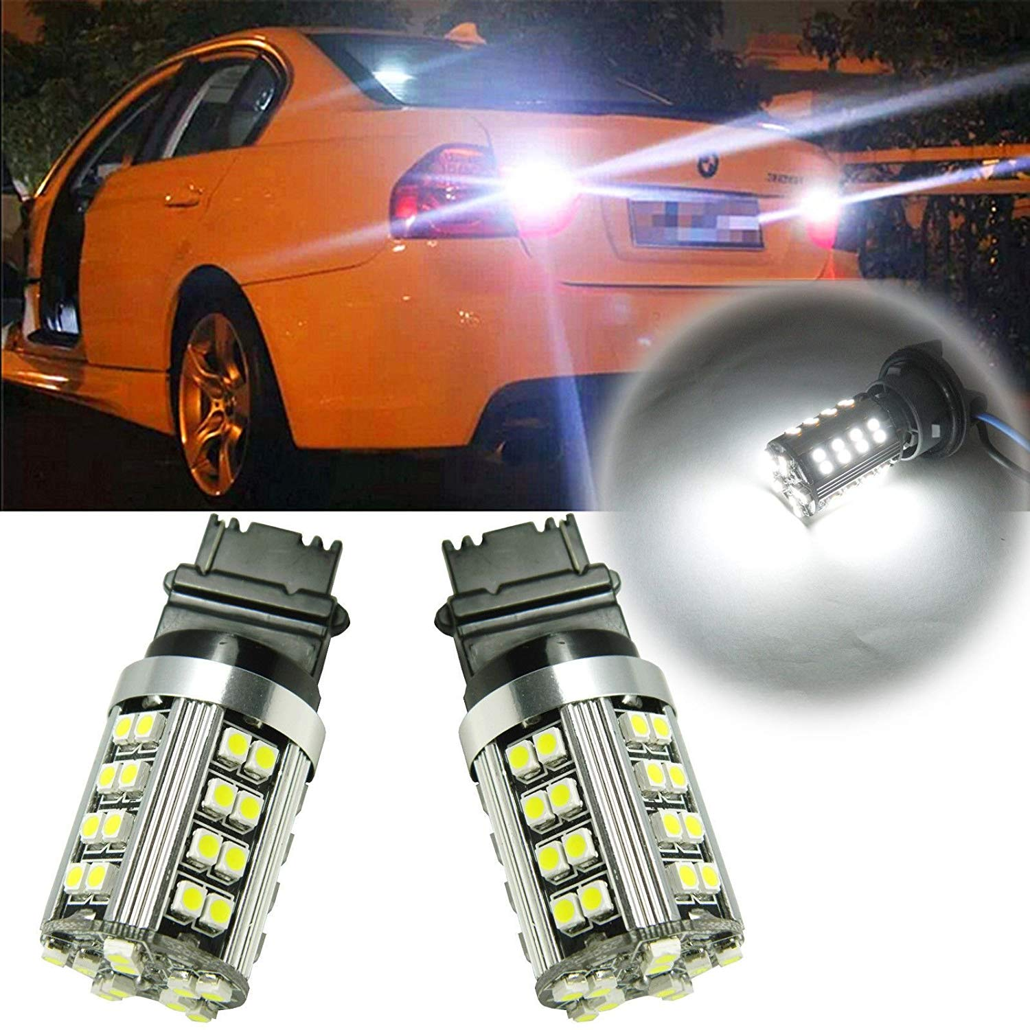 Xotic Tech 2 X 6000K White 50-SMD 21W 3156 3457 3357 4057 LED Turn Signal Light Bulbs