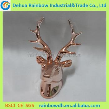Wall Mounted Christmas Rose Gold Deer Head Decoration - Buy Deer ...