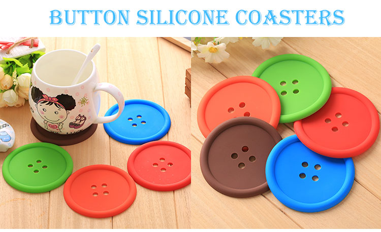 Wholesale round coffee coaster drinking button shape silicone cup mats