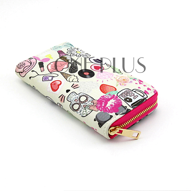 Fashion Cute Custom PU Print <strong>Wallet</strong> With Copper Zipper For Women
