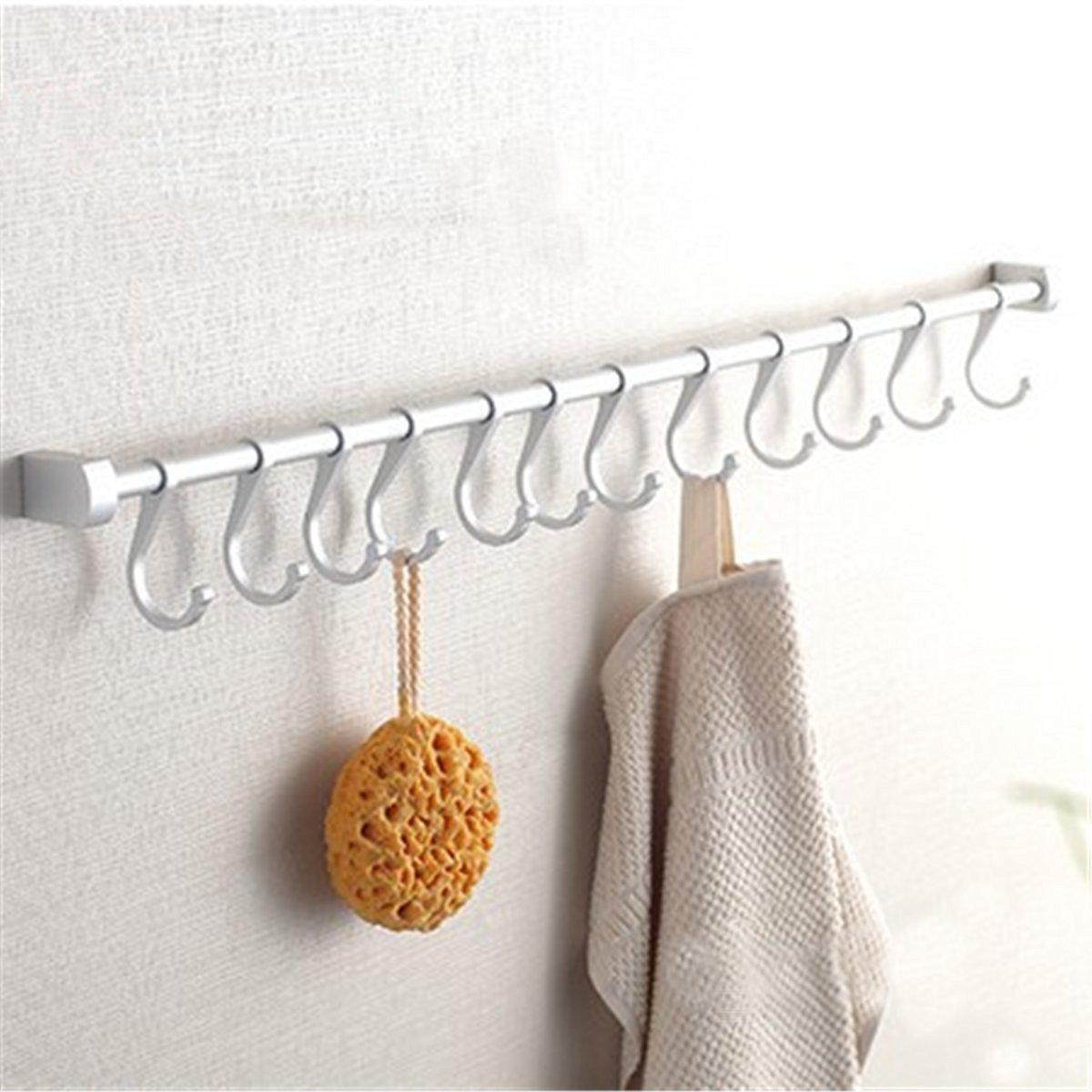 Smart4Card 12 Hooks Kitchen Utensil Set Wall Mounted Rail Hooks Hanging Storage Rack Bathroom Holder