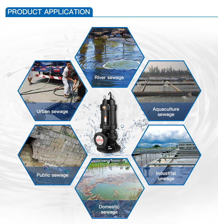 350WQ1500-20-132~600WQ3700-8-132  Electric Submersible Sewage Pump High Pressure Water Pump