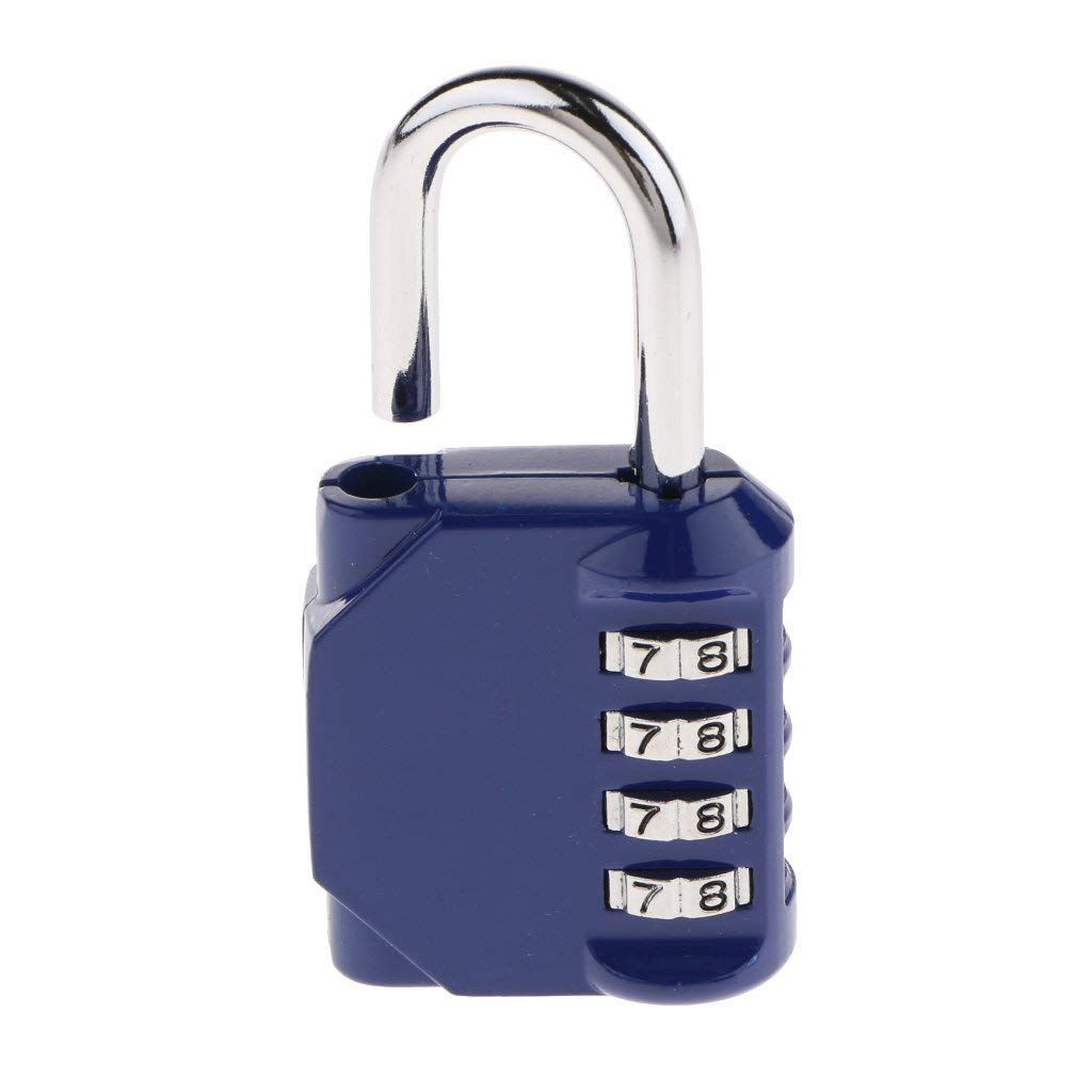 Baoblaze 4 Digit Combination Padlock Locker Door Drawer Toolbox Travel Luggage Suitcase Bag Safety Code Lock 603N - Blue (Set Over 10,000 Different Combinations)