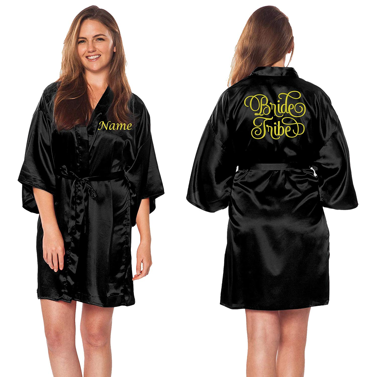 Custom Apparel R Us Bride Tribe Gold Embroidered Customize Name Satin Robes For Wedding Party