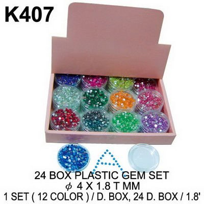 K407 24 BOX PLASTIC GEM SET