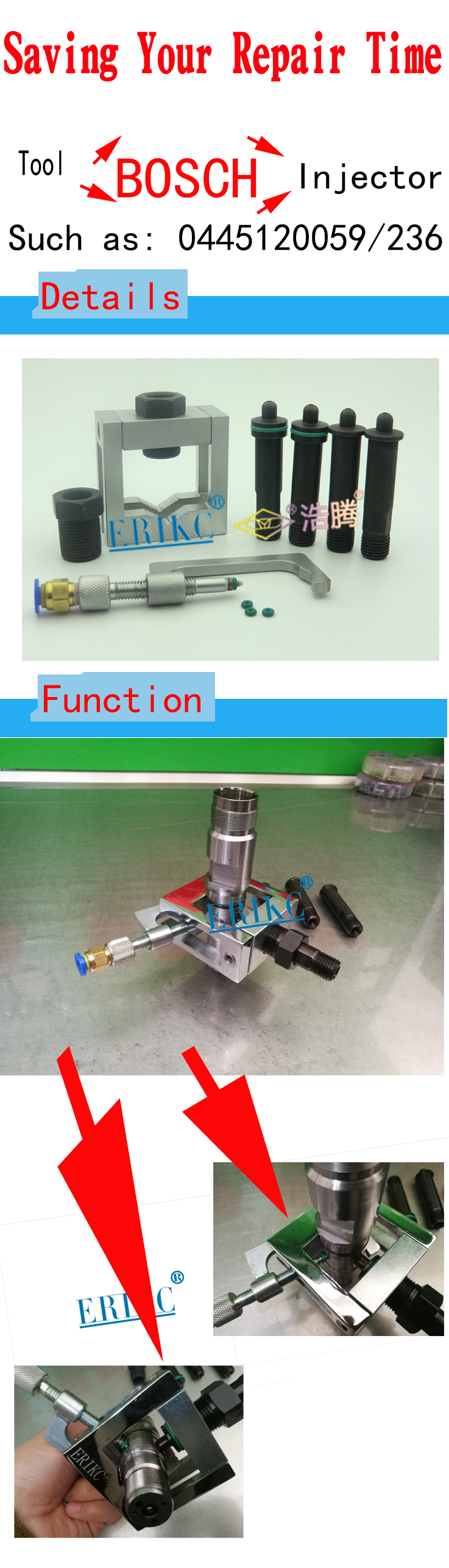 ERIKC adapter cr injector tool Diesel Common rail tools