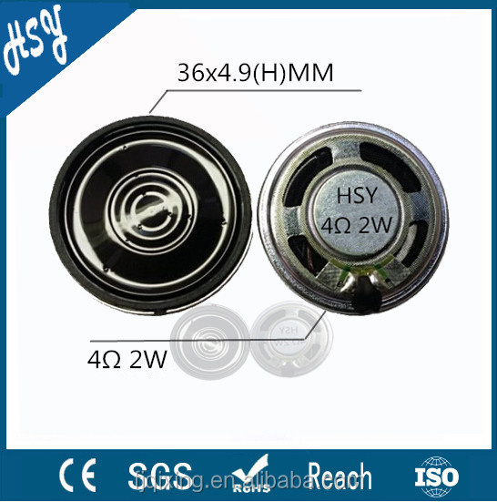 Mylar cone 36mm 4ohm 2w fo~13khz flat mini speakers