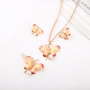 Xl01654d New Arrival Pearl Jewelry Designs Lovely Girl School Days Handmade Flower Enamel Butterfly Necklace Set