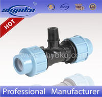 Factory Cheap Price pp compression fittings male tee farm irrigation pipe fittings