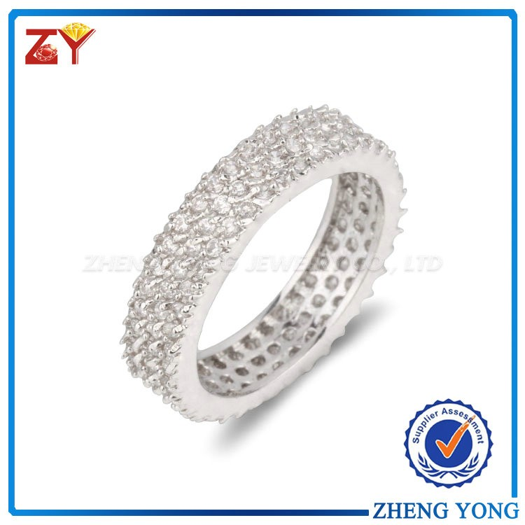 Cubic Zirconia Bridal Ring Rhodium 925 Sterling Silver Wedding Rings