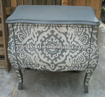 Cf30154 Grey With White Print Two Drawer Hall Ay Chest Cabinet Console Table Animal Furniture