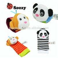 hot selling Sozzy plush animal baby wrist band and sock