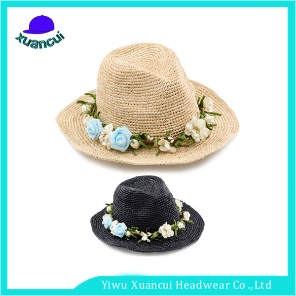 Best Selling Natural Raffia Crochet Design Your Own Raffia Panama Straw Hats For Man