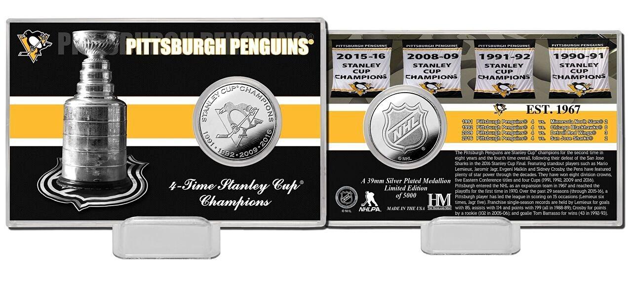 """NHL Pittsburgh Penguins 4 Times Stanley Cup Champions Coin Card, 8"""" x 4"""" x 1"""", Silver"""