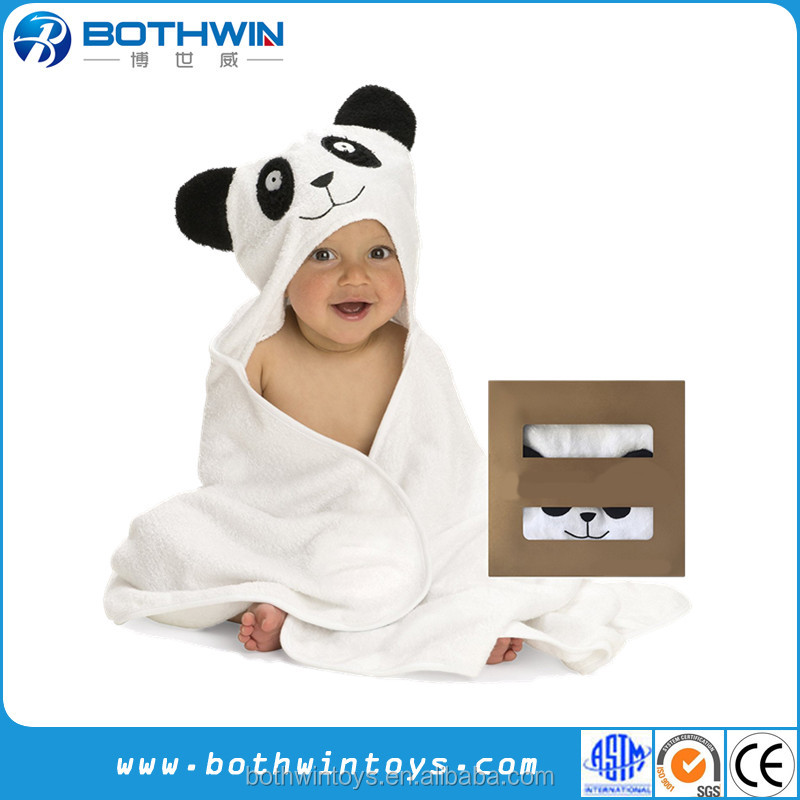 100% cotton cartoon animal panda baby hooded towel