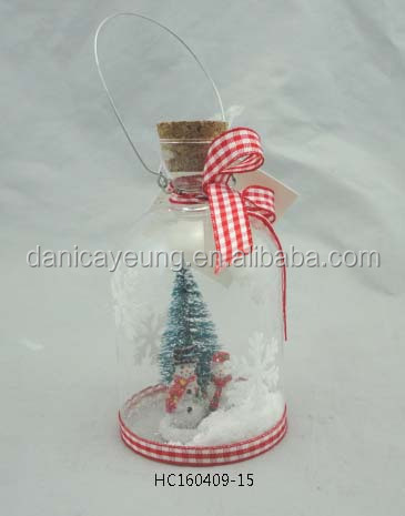Cute mini snowman and christmas tree in clear glass wish bottle christmas ornament