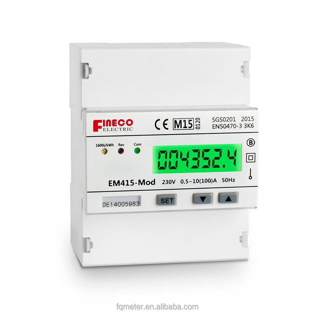 EM415-Mod 230V 10(100)A MID approved 1 phase 2 wire electronic kwh meter 220v ac rs485 modbus meter