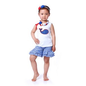 Howell summer blue white check ruffle short and white tank top set with whale baby clothes
