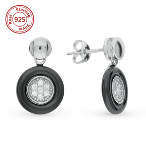 Ceramic Stud Earring 925 sterling silver and Cubic Zirconia Black Ceramic Earring