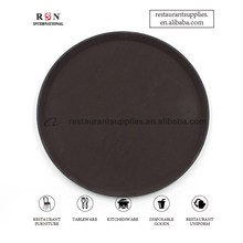 Classic Plastic Round Rubber Lined Non-Slip Tray Serving Tray Serving Plates-Custom Logo Available