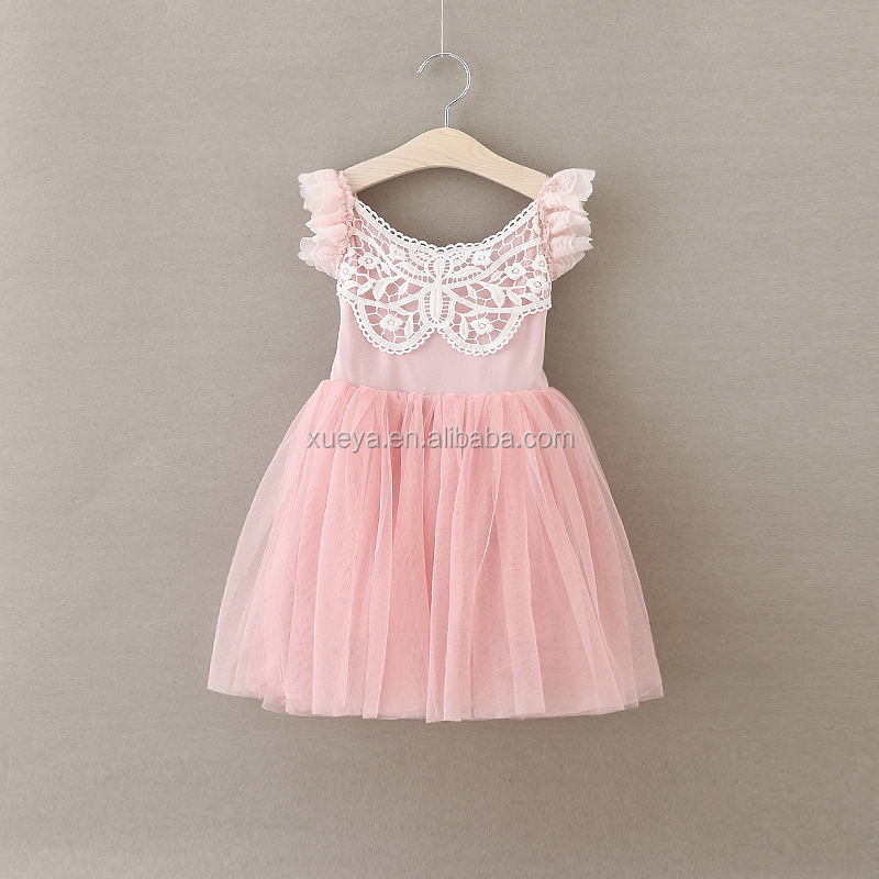 Top quality frocks design lace baby dress for party