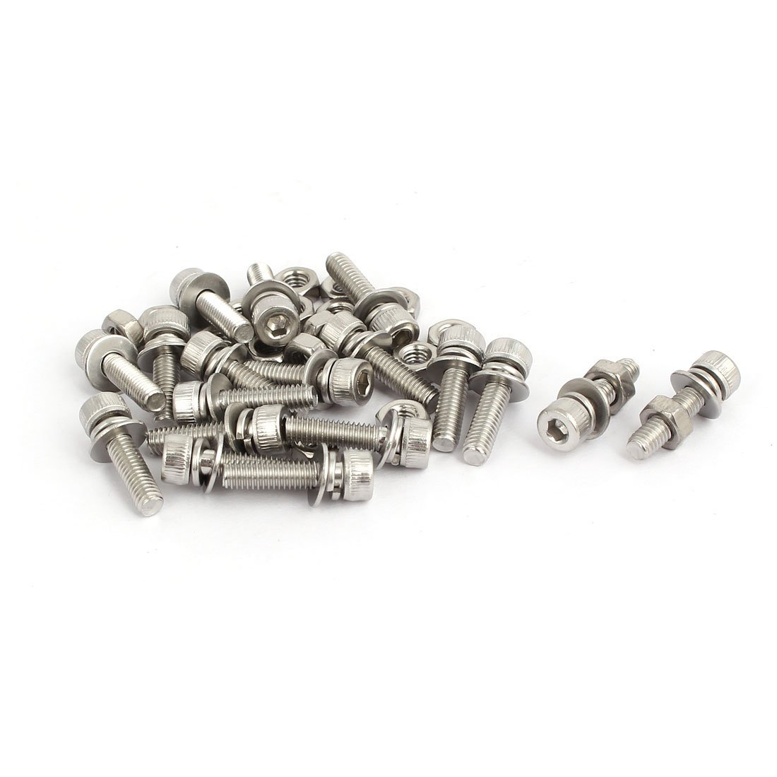 uxcell M4x16mm 304 Stainless Steel Hex Socket Head Cap Bolt Screw Nut w Washer 18 Sets