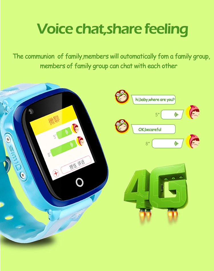 2018 New Waterproof IP68 Waterproof 4G Kids Gps Watch