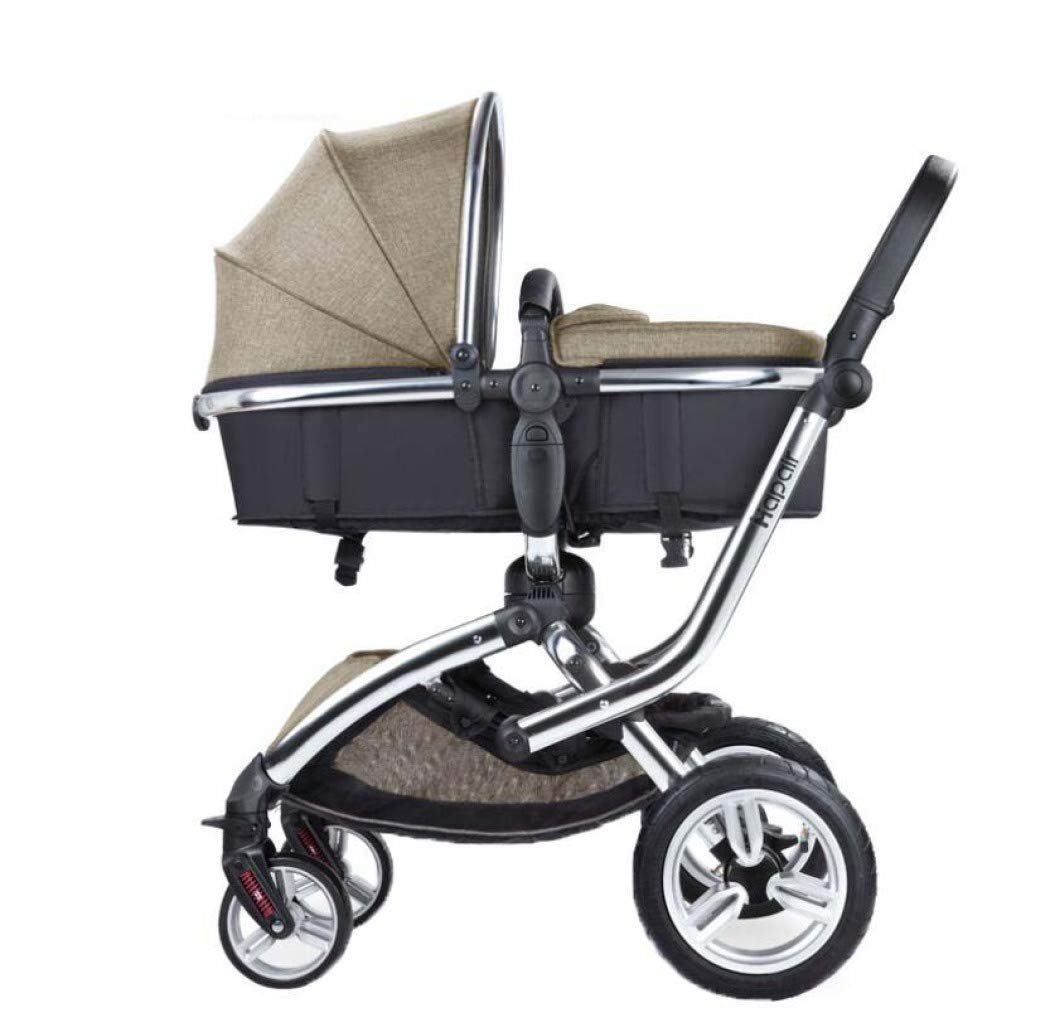 Baby Stroller, Can Sit and Reclining High Landscape Four-Wheel Shock Absorber Two-Way,Children's Trolley - Baby Stroller pram,Khaki