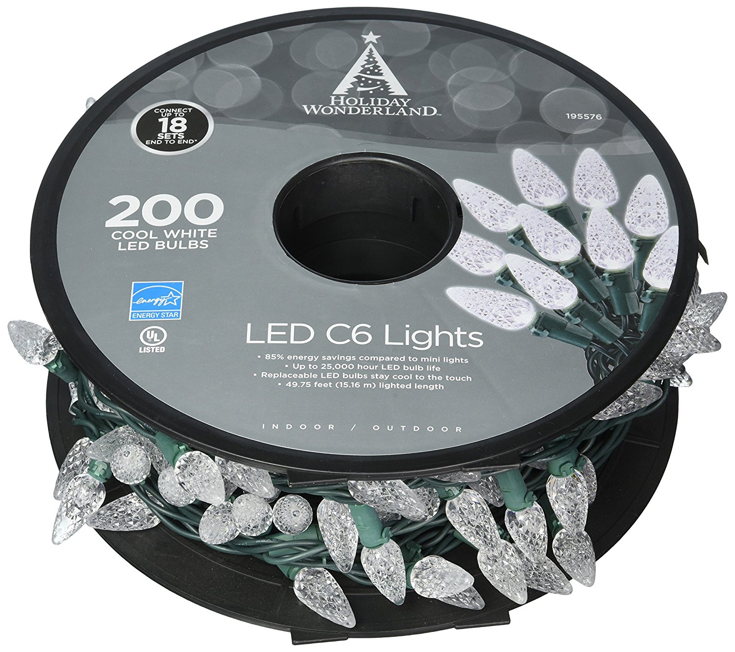 "NOMA/INMLITEN-IMPORT 47940-88A 200 Count, Cool White, C6, LED Light Set, On Spool, Green Wire, 3"" Light Spacing, 12"" Lead, 4"" End, 49.8' Lighted Length, 51' Total Length."