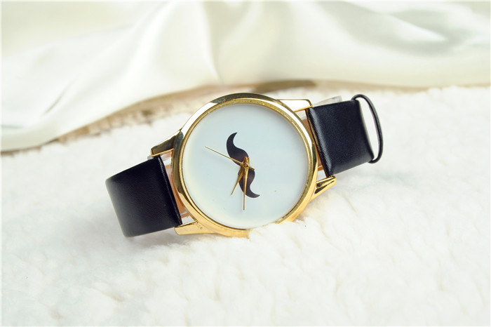 1153a77a97c Get Quotations · New Fashion Bonded Leather Strap Ladies watch black cross  big beard kitty cat top hat wristwatch