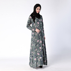New designs printed dubai abaya long sleeve maxi dress best selling kaftan turkish jubah 2016