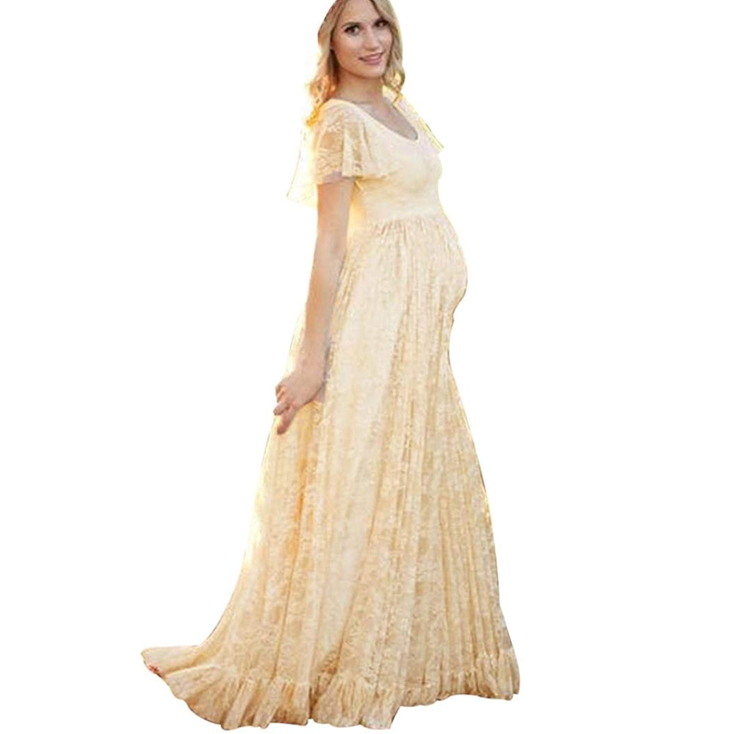 cdeca543c7a Maternity Dresses Fabal Women s Floral Lace Short Sleeve Photography Fly  Sleeves O Neck