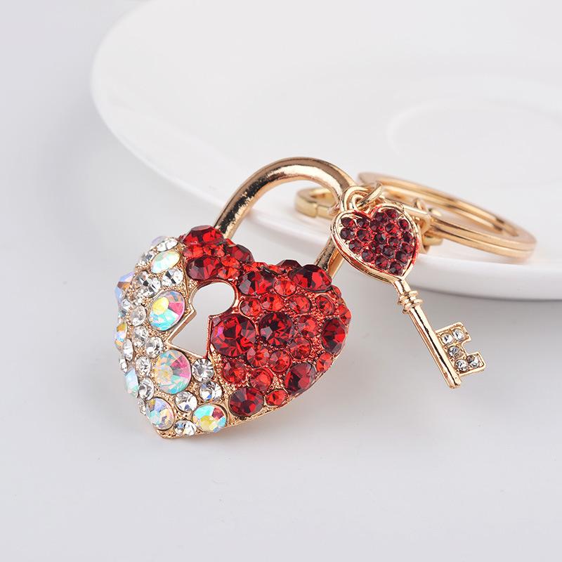 Crystal Love Heart Lock Key Chain Novelty Design For Couples Rhinestone Keyring Car Keychains Fashion Jewelry