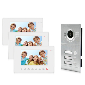 2 wire video doorbell Touch button door phone for 3 apartments video doorbell