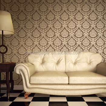 2015 Modern Foaming Embossed Home Decor Pvc Damask Design Wallpaper