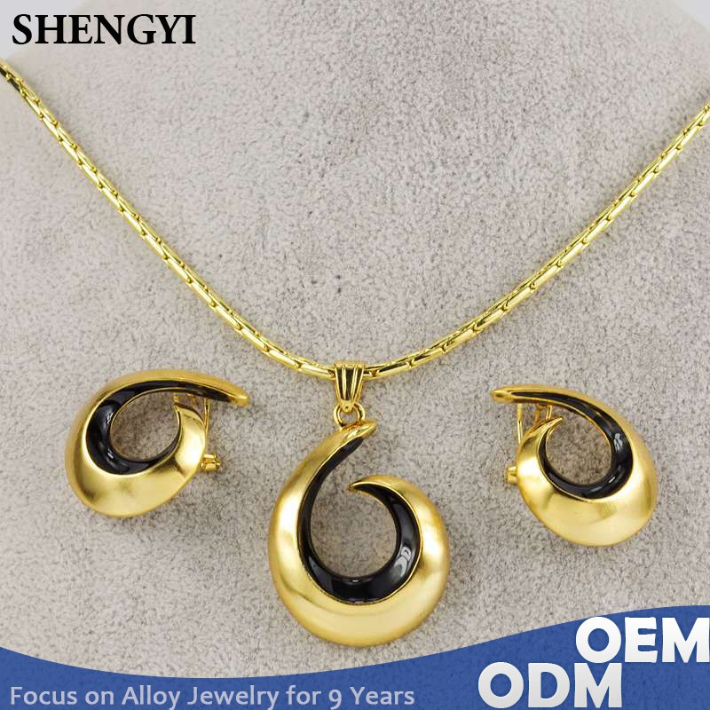shengyi jewelry dubai simple gold design pendant sets with black epoxy coating