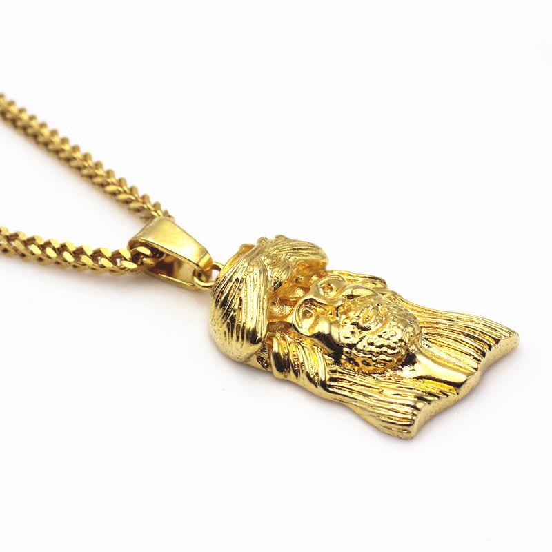 e93779c33aff Solid Gold Jesus Piece Saudi Jewelry Charms Christ Pendant Chain ...