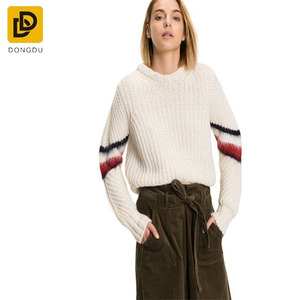 Long sleeve sweater women plain knitted cropped mohair stripe sweater womens slim fit knit pullover sweater wholesale