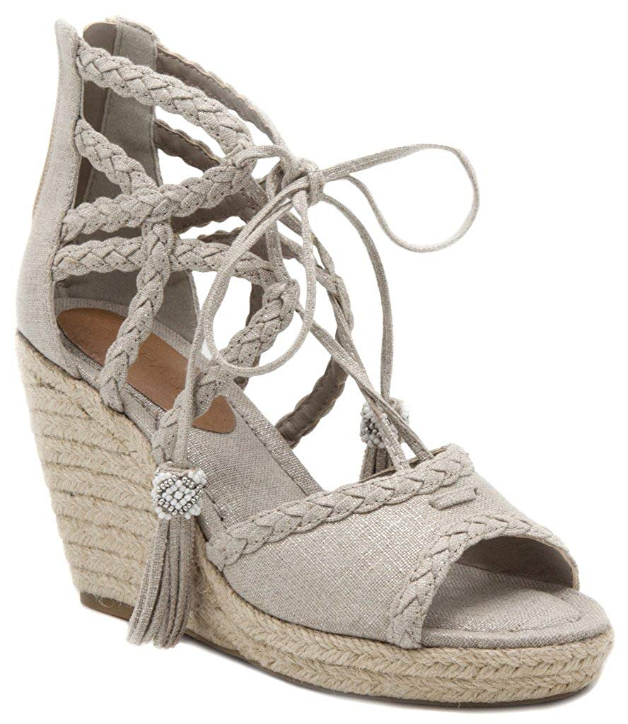 fe1d3763cd1 Rampage Women s Carlita gillie Lace Up Espadrille Wedge Sandal With Tassels