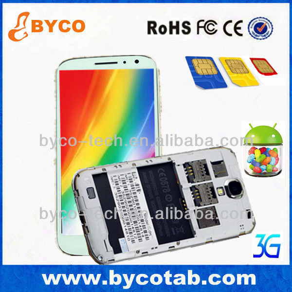 5.0' Dual Core Android 4.2 3G mobil telefon 3 SIM Card Mobile Phone H9503