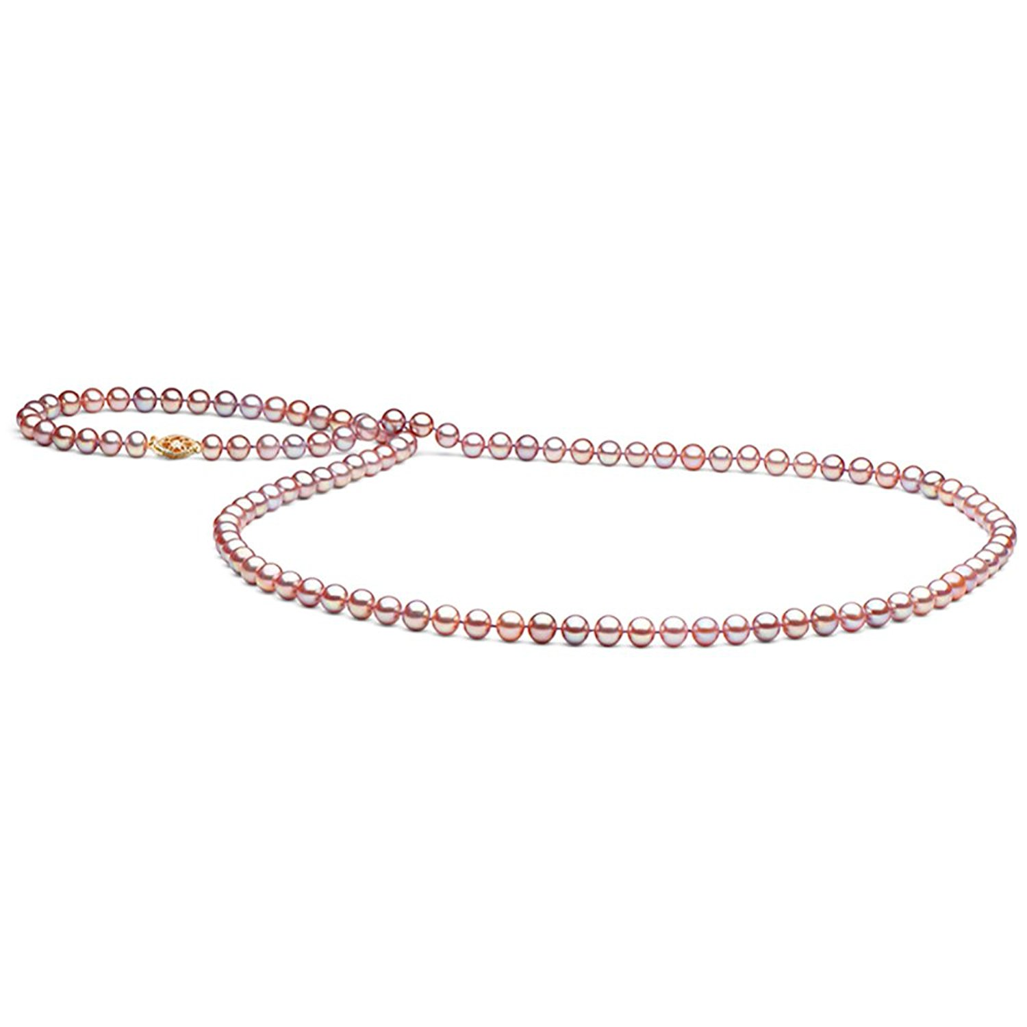 14K Cultured Natural-Color Pink Freshwater Pearl Necklace, 6.0-7.0mm - 35-Inch, AA+ Quality, Yellow Gold