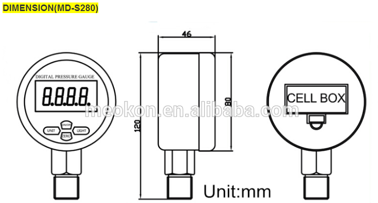 MD-S280 LCD display manometer intelligent digital pressure gauge for gas water oil