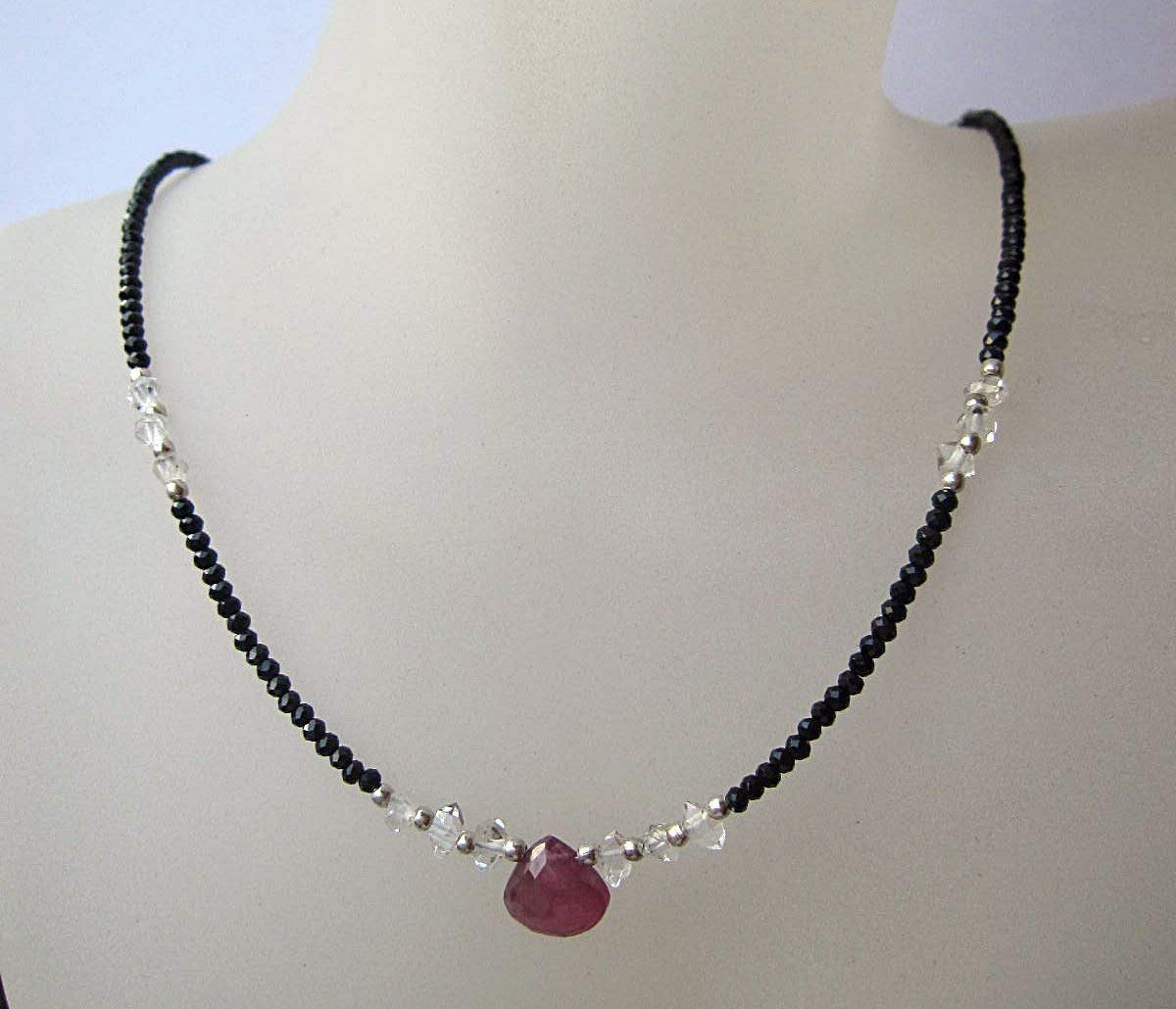 Ruby,Herkimer Diamond,Black Spinel Necklace,925 Sterling Silver 1 inch Extender - Custom Size 15,16,17,18, 20